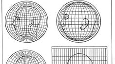 How distorting are map projections? Here's what four commonly used systems of projection do to a human head.