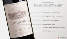 The 'Classic' #wine label design http://winefolly.com/tutorial/how-to-design-custom-wine-labels/