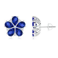 Angara Classic Pear Aquamarine and Diamond Flowerhead Cluster Earrings Wsbb3