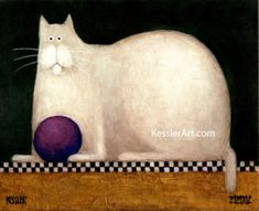 A classic folk art piece for any cat lover: Dark green background with a checkerboard motif!