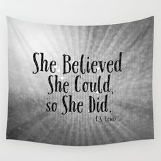 She Believed She Could Quote Tapestry Gray Tapestry Grey Tapestry Boho Tapestry…