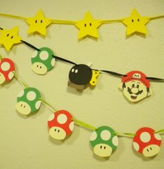 Retro SUPER MARIO Brothers Paper and Ribbon Handmade Pennant Banner Bunting -- LARGE