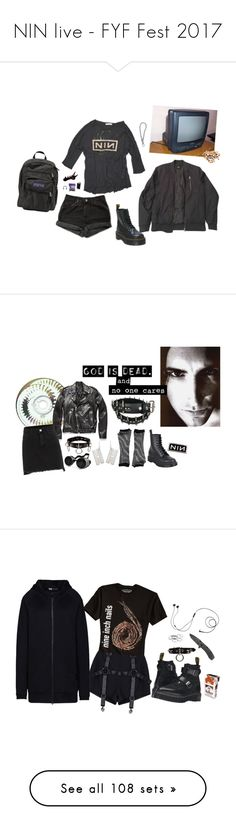 """""""NIN live - FYF Fest 2017"""" by void-witch ❤ liked on Polyvore featuring ASOS, JanSport, Dr. Martens, Levi's, INC International Concepts, BLK DNM, Demonia, nin, nineinchnails and Urban Outfitters"""