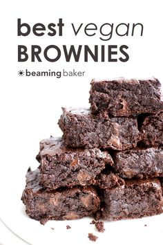 The BEST vegan brownies you've ever had: divinely rich, fudgy, moist brownies bursting with chocolate flavor. BEAMINGBAKER.COM #Vegan #fudgy
