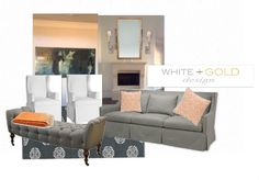 living room ideas - tan + white + blue + orange