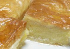 Galaktoboureko (Greek Custard-Filled Phyllo Dessert) This is my favorite Greek dessert. My cousin grew up with a Greek girl and we've had this recipe in the family ever since! Greek Sweets, Greek Desserts, Köstliche Desserts, Greek Recipes, Delicious Desserts, Yummy Food, Turkish Dessert Recipes, Greek Pastries, Kolaci I Torte