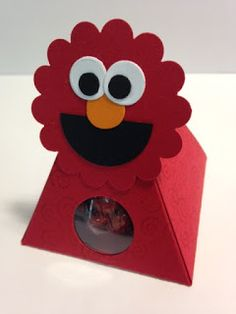 Elmo Pyramid Pals, Kids or Child's Gift, Candy Box, Party Favor, Stampin' Up!, Rubber Stamping, Handmade Gifts