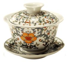 Gaiwan tea cup: White Flower