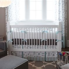 I just absolutely love it! Mist and Gray Owls Crib Bedding #carouseldesigns