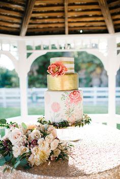 Gold Painted Wedding cake #weddingcake