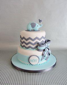Chevron Baby Elephant Baby Shower Cake, Blue and Grey Baby Shower Cake, Two Tiered Fondant Cake Shower Party, Baby Shower Parties, Baby Shower Themes, Elephant Cakes, Elephant Theme, Pink Elephant, Elephant Food, Elephant Baby Boy, Elephant Party