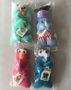 4 Sesame Street Mini Beans Muppets Cookie Monster Telly Rosita Herry New Sealed #Kelloggs