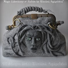 MEDUSA Gorgona Satchel Gladstone, Doctors Bag, Felted, Detachable handles Antique Bronze Hardware