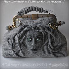 MEDUSA Gorgon Satchel Gladstone Doctors Bag Felted von TianaCHE, $325.00