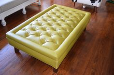 Modern Bright Green Tufted Ottoman Coffee by SimplyUpholstery