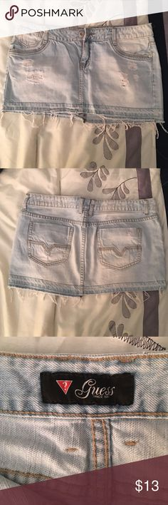 Guess Jeans Mini Skirt SUPER Cute and Sexy  Pre-worn only once in AWESOME condition Distressed Guess Jean Mini Skirt  Runs a lil small (as all guess clothing does) Guess Skirts Mini