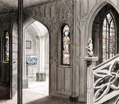 """the chief beauty of the castle"" Horace Walpole (1784)  Staircase at Strawberry Hill"