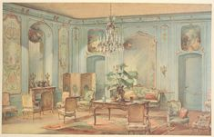 Grand salon Louis XV, peint en gris vert.  One of Georges Remon's marvelous depictions of period interiors