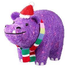21 75 Tinsel Glitter Lit Purple Hippo In Santa Hat Wonder Target