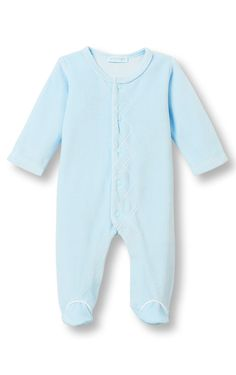 Le Top Baby 'Treasured Baby' Footed Blue Velour Coverall w/Side Argyle