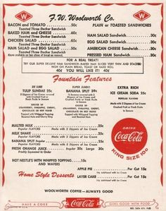 On the menu>>>Today's special: Grilled cheese sandwich and a cherry coke....50 cents