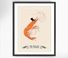 Mr PRAWN - Fine art print poster glicé illustration kitchen decor sea food ocean cousine wall restaurant decor kitchen decor wall home draw
