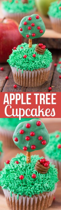 These are the cutest fall apple tree cupcakes! You need a few supplies to transform these apple spice cupcakes into apple tree cupcakes!