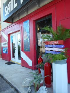 Front of dive shop after concrete was bleached, fresh coat of paint and new plants! Dive Shop, Diving, Miami, Sunrise, Neon Signs, Fish, Concrete, Plants, March