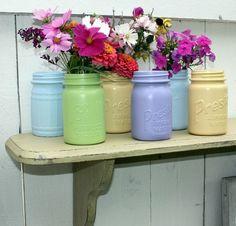 Painted glass jars turned cute vases!