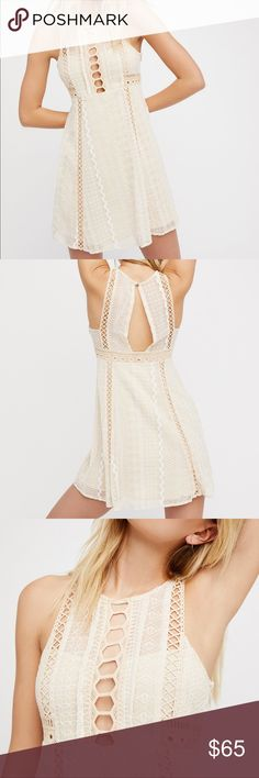 Free People Wherever You Go Mini Dress Ultra femme fit-and-flare mini dress featuring an embroidered design with cute crochet details. Darling cream color that flatters all skin tones. New with Tags. Size 2 but fits like an XS.  Absolutely adore this dress! It's the perfect length and the top is a super flattering fit. Shows just enough skin to be flirty but still designed to be modest and doesn't gape anywhere. Another huge plus? Pockets!! Winner in my books! You need this dress in your…