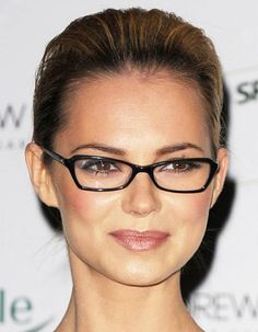 Tips on Short Hairstyles for Women with Glasses: Short Curly ...  Squareish cat eye...