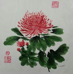 Chrysanthemums Chinese Brush Painting
