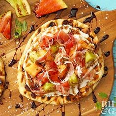 A little sweet, a little savory; this Grilled Fruit Pizza made with melon, prosciutto, and ricotta cheese will cure all of your cravings.