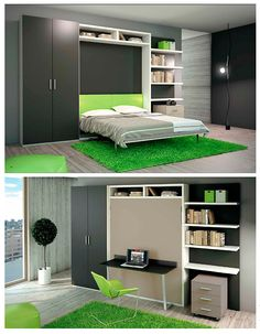 """Small spaces and smart designs have never had such a harmonious relationship. Custom storage like bookcases, wardrobes, and open shelves create a cohesive look with your wall bed. The """"City Desk"""" has a big desk put on the frontal. The desk is functional, very strong and beautiful design. You can apply this kind of table """"Folding"""" at many different sizes of """"City Desk"""" bed.   Want to learn more? Visit www.milanosmartliving.com for more smart, space saving furniture. Space Saving Beds, Space Saving Furniture, Big Desk, Smart Design, Dream Decor, Queen Beds, Open Shelving, Game Room, Small Spaces"""