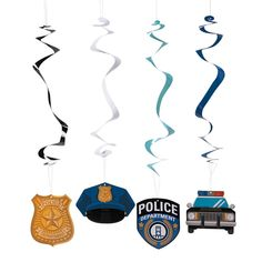 With hat, golden shield, squad car and badge cutouts, these police party decorations are a must for your little aspiring officer's birthday bash. Birthday Party Decorations, Birthday Parties, 5th Birthday, Party Themes, Police Retirement Party, Retirement Ideas, Retirement Parties, Cop Party, Police Cakes