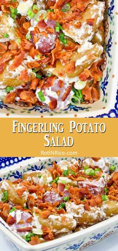 Creamy Fingerling Potato Salad topped with bacon bits and sliced green onions. The lemon juice gives it a hint of tanginess. Great with grilled meats. | RotiNRice.com #fingerlingpotatoes #potatosalad #potatorecipes #bacon