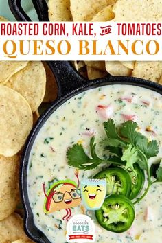 Queso Blanco Dip with Roasted Corn, Kale, and Tomatoes with tortilla chips is a perfect appetizer to enjoy while watching the Super Bowl, or any of your favorite sports on game day for that matter. You might not think of things like roasted corn, tomatoes, or kale (especially) when it comes to something like slow cooker queso….but believe me it is my favorite way to eat queso! | Good Life Eats @goodlifeeats #easyquesodiprecipe #gamedayfood #superbowlrecipes #goodlifeeats Mexican Food Recipes, Healthy Recipes, Healthy Meals, Delicious Recipes, Vegetarian Appetizers, Appetizer Recipes, Great Dinner Recipes, Dinner Ideas, Christmas Party Food