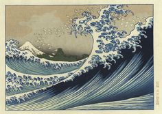 Mt. Fuji on the swell, colored version. Hokusai. Note how the foam from the waves become seabirds. Republished in a color version in the mid-20th century.