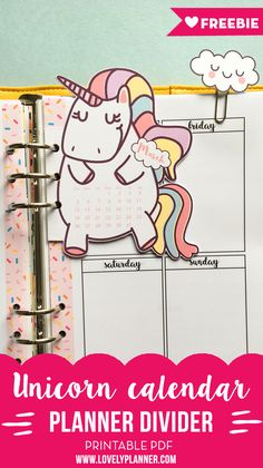 Free Printable Unicorn Calendar Divider + Cloud Paperclips For your Planner from Lovely Planner {new printable every month -newsletter subscription required}
