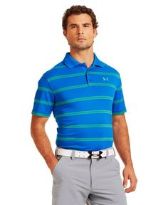 e2a6fe9b Made from polyester this lightweight mens UA fade stripe golf polo shirt by Under  Armour provides substantial feel and superior durability