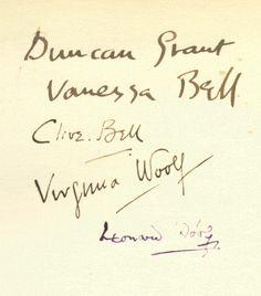 The various signatures of the Bloomsbury Group. The various signatures of the Bloomsbury Group. Virginia Woolf, Vanessa Bell, Ex Libris, Dora Carrington, Leonard Woolf, Maynard Keynes, Duncan Grant, Bloomsbury Group, English Writers