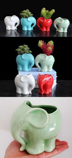 Ceramic Elephant Succulent Planter Flower Pot Flower Pot