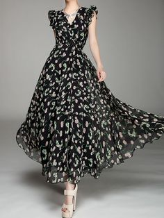 V-Neck,Chiffon Dress,Maxi Dress