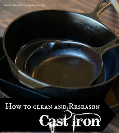 Learn how to reseason cast iron cookware like a pro with all our tips and tricks. We also have a Martha Stewart Video to show you how. Cast Iron Care, Cast Iron Pot, Cast Iron Skillet, Cast Iron Cooking, Cast Iron Cookware, It Cast, Diy Cleaning Products, Cleaning Hacks, Iron Cleaning