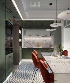 Residential appartment on Behance - luxury kitchen Kitchen Room Design, Home Room Design, Modern Kitchen Design, Interior Design Kitchen, Minimal Kitchen, Apartment Interior, Apartment Design, Neoclassical Interior, Küchen Design