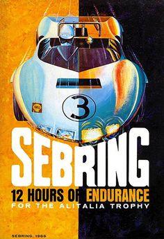 1966 Sebring 12 Hours Of Endurance Race - Promotional Advertising Poster