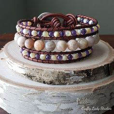 Sunstone, amethyst, and mother of pearl leather cuff bracelet