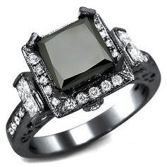 2.75ct Black Princess Cut Diamond Engagement Ring 14k Black Gold