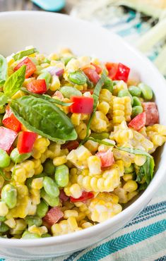 Roasted Corn and Edamame Salad in a creamy but light mayonnaise-based dressing.