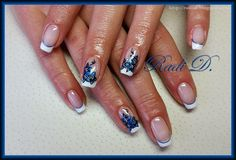 It`s all about nails: French with blue metallic flowers- gel polish http://radi-d.blogspot.com/2015/01/french-with-blue-metallic-flowers-gel.html